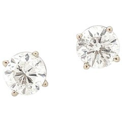 14 Karat White Gold Round Brilliant Cut Diamond Stud Earrings 1.83 Carat I1/H