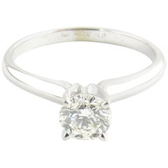 14 Karat White Gold Round Brilliant Diamond Engagement Ring .58 Carat