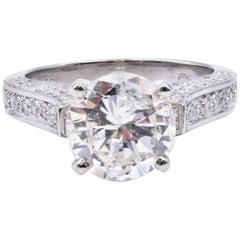 14 Karat White Gold Round Brilliant Diamond Engagement Ring