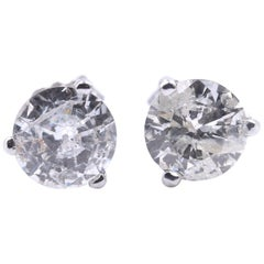 14 Karat White Gold Round Brilliant Diamond Stud Earrings