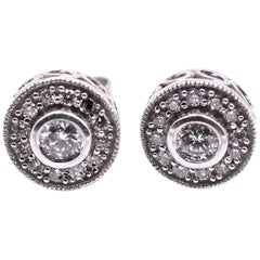 14 Karat White Gold Round Brilliant Diamond Studs with Diamond Halo