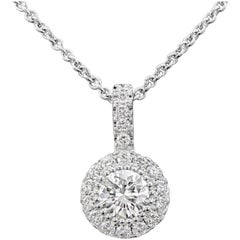 Roman Malakov 14 Karat White Gold Round Diamond Cluster Pendant Necklace