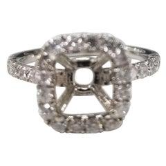 14 Karat White Gold Round Diamond Cushion Halo Ring