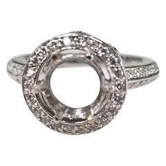 14 Karat White Gold Round Diamond Halo and Knife Edge Ring