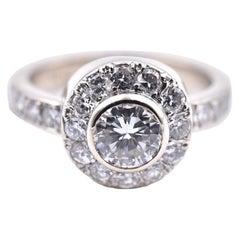 14 Karat White Gold Round Diamond Halo Engagement Ring