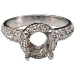 14 Karat White Gold Round Diamond Halo with Knife Edge Ring