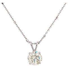 14 Karat White Gold Round Diamond Single Pendant Necklace