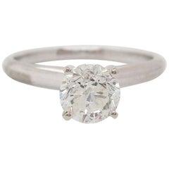 14 Karat White Gold Round Diamond Solitaire Engagement Ring