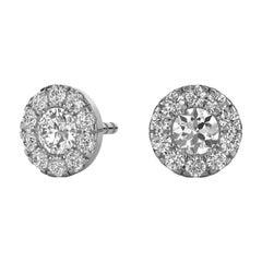 14 Karat White Gold Round Halo Diamond Earrings '1/3 Carat'
