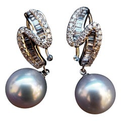 14 Karat White Gold, Round South Sea Pearl and Diamond Earrings