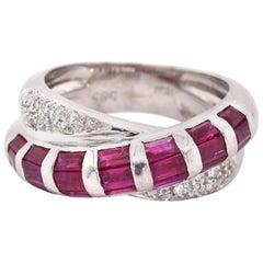 14 Karat White Gold Ruby and Diamond Band Ring