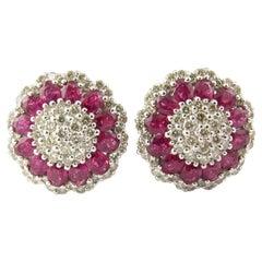 14 Karat White Gold Ruby and Diamond Earrings