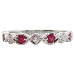 14 Karat White Gold Ruby and Diamond Half Band