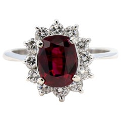 14 Karat White Gold Ruby and Diamond Halo Cocktail Ring