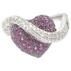 14 Karat White Gold Ruby and Diamond Heart Crossover Ring