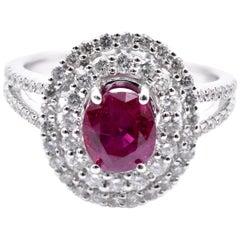 14 Karat White Gold Ruby and Diamond Ring