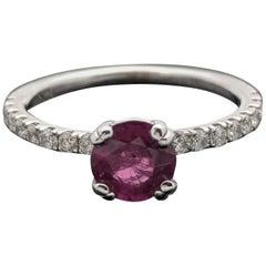 14 Karat White Gold Ruby and Diamonds Ring