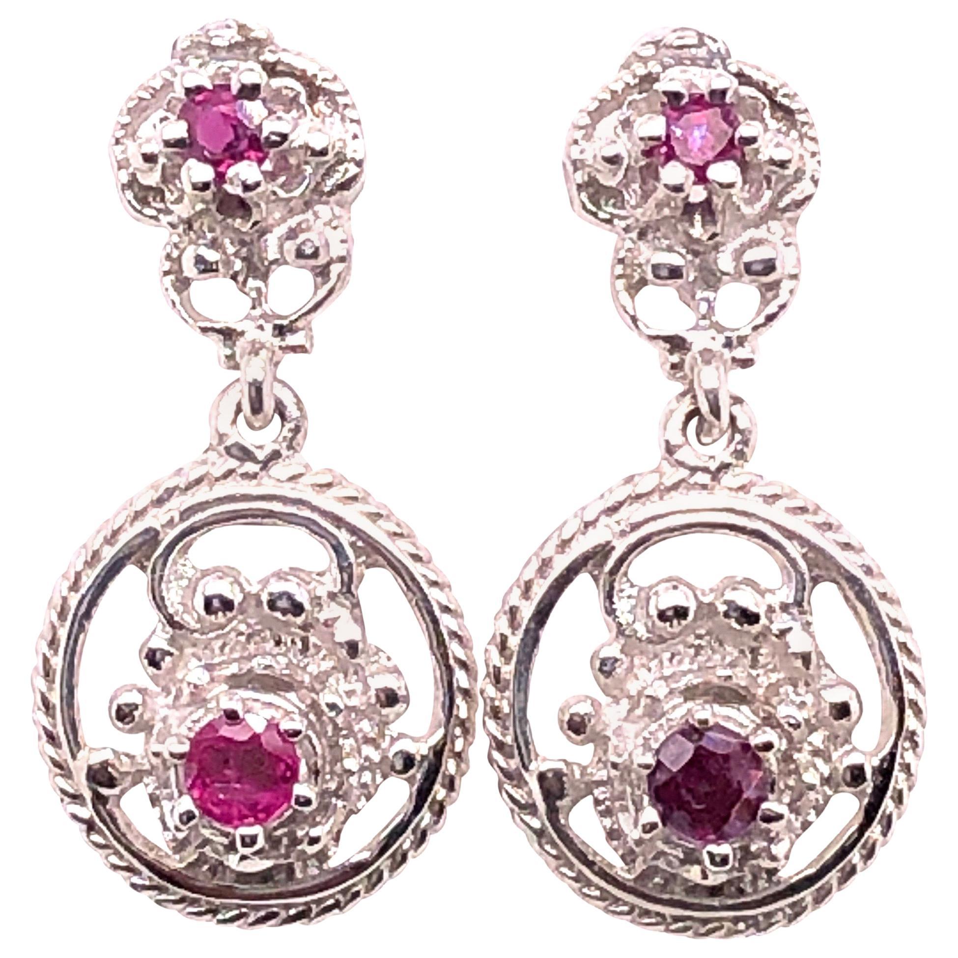 14 Karat White Gold Ruby Drop Dangle Earrings