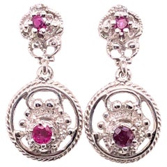 14 Karat White Gold Ruby Drop Dangle Earrings
