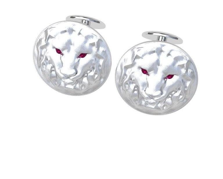Round Cut 14 Karat White Gold Ruby Lion Cufflinks For Sale