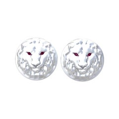 14 Karat White Gold Ruby Lion Cufflinks