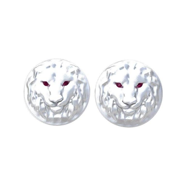 14 Karat White Gold Ruby Lion Cufflinks For Sale