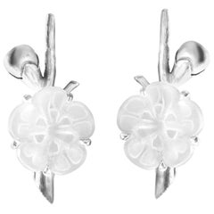 14 Karat White Gold Sakura Contemporary Cocktail Earrings by the Artist