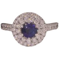 14 Karat White Gold, Sapphire '0.88 Carat' and Diamond '1.26 Carat' Ring