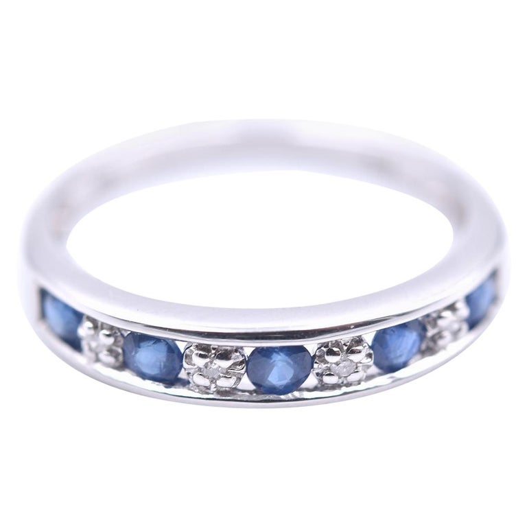14 Karat White Gold Sapphire and Diamond Band For Sale