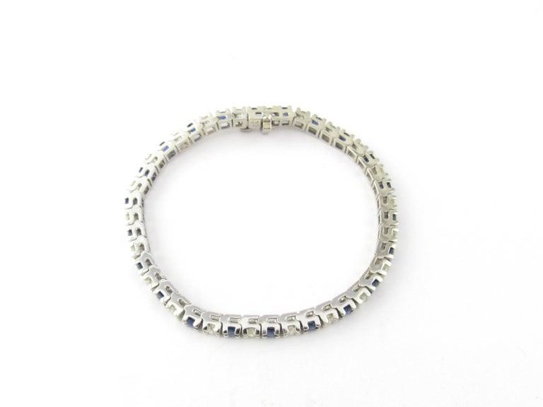 Round Cut 14 Karat White Gold Sapphire and Diamond Bracelet For Sale
