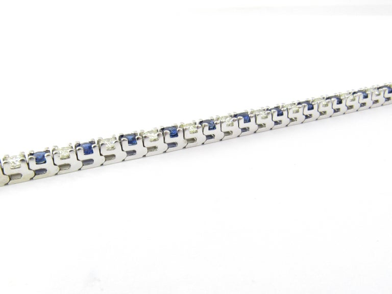 Women's 14 Karat White Gold Sapphire and Diamond Bracelet For Sale