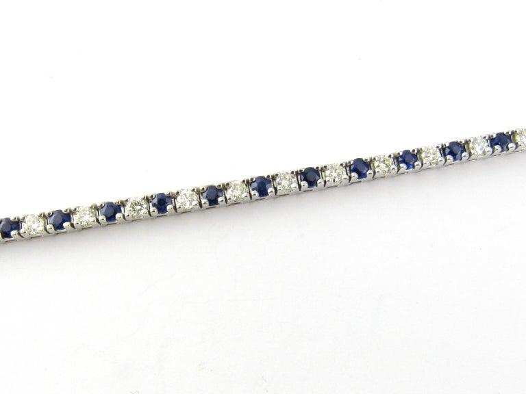 14 Karat White Gold Sapphire and Diamond Bracelet For Sale 1