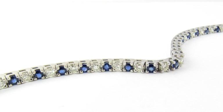 14 Karat White Gold Sapphire and Diamond Bracelet For Sale 2