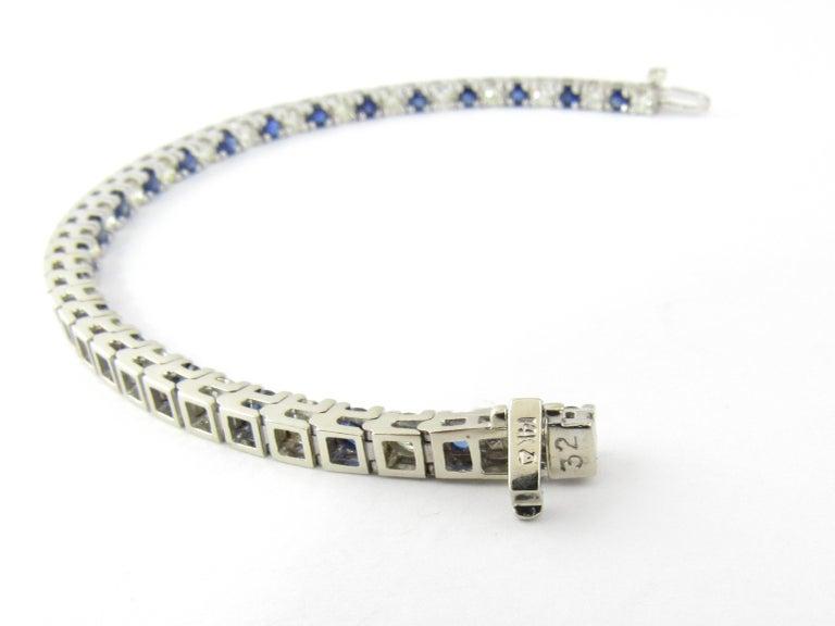 14 Karat White Gold Sapphire and Diamond Bracelet For Sale 3