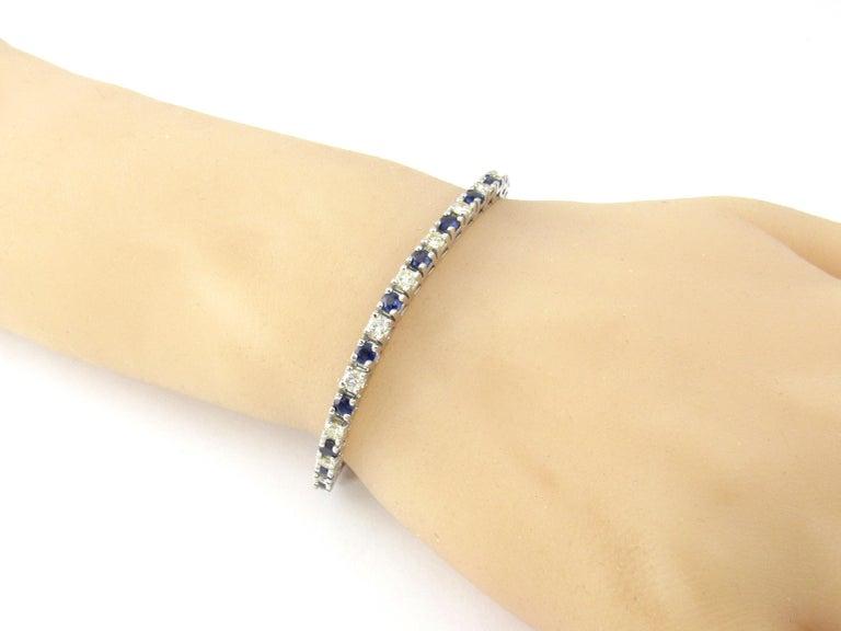 14 Karat White Gold Sapphire and Diamond Bracelet For Sale 4
