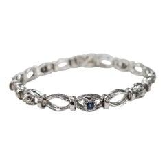 14 Karat White Gold Sapphire and Diamond Bracelet