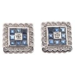 14 Karat White Gold Sapphire and Diamond Cluster Earrings