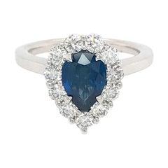 14 Karat White Gold Sapphire and Diamond Cluster Ring