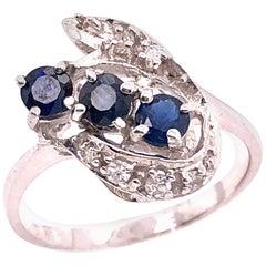 14 Karat White Gold Sapphire and Diamond Contemporary Ring