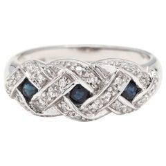 14 Karat White Gold, Sapphire and Diamond Criss Cross Band Ring