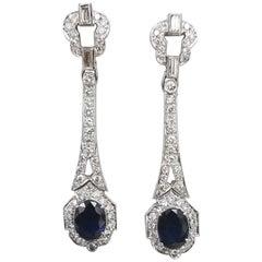 14 Karat White Gold Sapphire and Diamond Dangle Earrings