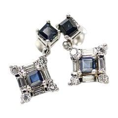 14 Karat White Gold Sapphire and Diamond Drop Earrings