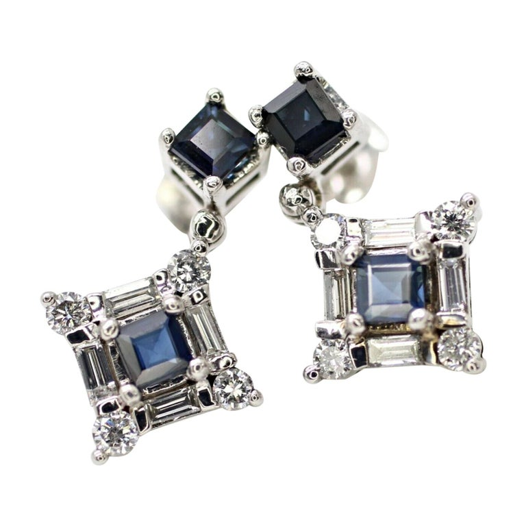 14 Karat White Gold Sapphire and Diamond Drop Earrings For Sale