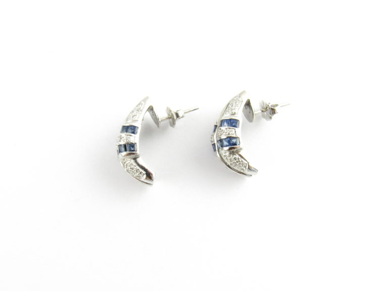 Round Cut 14 Karat White Gold Sapphire and Diamond Earrings For Sale