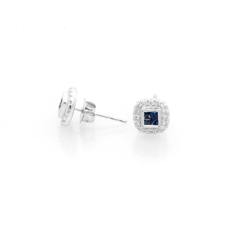 14 Karat White Gold Sapphire and Diamond Earrings In New Condition For Sale In Dallas, TX