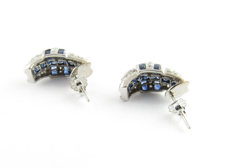 14 Karat White Gold Sapphire and Diamond Earrings In Good Condition For Sale In New Milford, CT