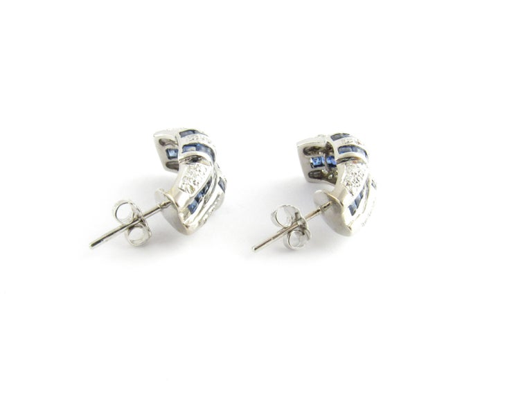 14 Karat White Gold Sapphire and Diamond Earrings For Sale 1
