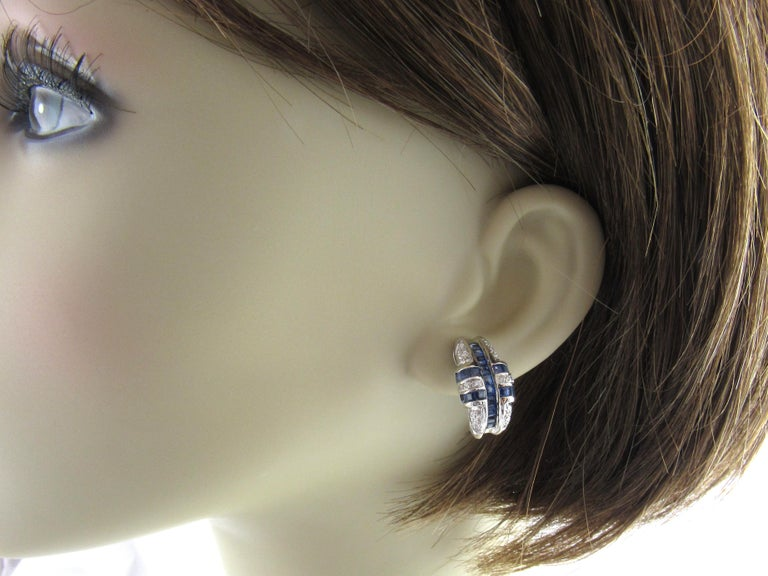 14 Karat White Gold Sapphire and Diamond Earrings For Sale 2