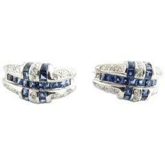 14 Karat White Gold Sapphire and Diamond Earrings