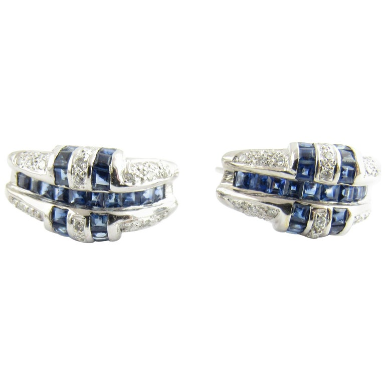 14 Karat White Gold Sapphire and Diamond Earrings For Sale